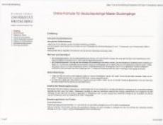 online bewerbungsportal der universitt - Uni Bewerbung